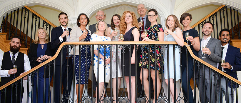Cohort 1 graduates @ Missenden Abbey, September 2016, with (second left) Alison Brown, head of communications development at NHS Improvement and (fifth left) Victoria Parker (former head of communications development, NHSI)